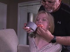 Kinky Blonde Girl Asking to be Duct Tape Gagged and Bound
